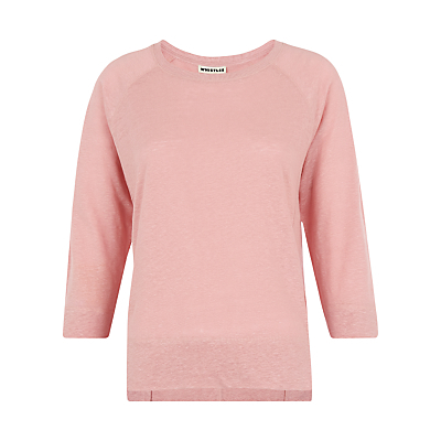 Alice 3/4 Sleeve Linen T Shirt - neckline: round neck; pattern: plain; style: t-shirt; predominant colour: pink; occasions: casual, creative work; length: standard; fibres: linen - 100%; fit: body skimming; sleeve length: 3/4 length; sleeve style: standard; texture group: linen; pattern type: fabric; pattern size: standard; season: s/s 2016