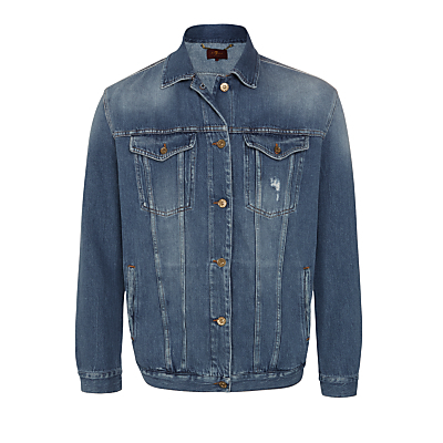 Oversized Trucker Jacket, Victoria Blue - pattern: plain; fit: loose; style: denim; predominant colour: denim; occasions: casual; length: standard; fibres: cotton - 100%; collar: shirt collar/peter pan/zip with opening; sleeve length: long sleeve; sleeve style: standard; texture group: denim; collar break: high/illusion of break when open; pattern type: fabric; season: s/s 2016; wardrobe: basic