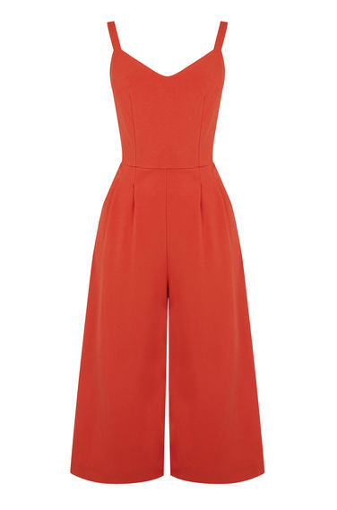 Compact Crepe Jumpsuit - neckline: v-neck; pattern: plain; sleeve style: sleeveless; predominant colour: bright orange; occasions: evening; length: calf length; fit: body skimming; fibres: polyester/polyamide - stretch; hip detail: subtle/flattering hip detail; sleeve length: sleeveless; texture group: crepes; style: jumpsuit; pattern type: fabric; season: s/s 2016; wardrobe: event