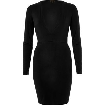 Womens Black Plunge Neck Dress - length: mid thigh; neckline: low v-neck; fit: tight; pattern: plain; style: bodycon; predominant colour: black; occasions: evening; fibres: polyester/polyamide - stretch; sleeve length: long sleeve; sleeve style: standard; texture group: jersey - clingy; pattern type: fabric; season: s/s 2016; wardrobe: event