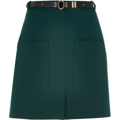 Womens Dark Green Belted Pocket Mini Skirt - length: mini; pattern: plain; fit: loose/voluminous; waist: high rise; waist detail: belted waist/tie at waist/drawstring; predominant colour: dark green; occasions: casual; style: a-line; fibres: cotton - 100%; texture group: cotton feel fabrics; pattern type: fabric; season: s/s 2016