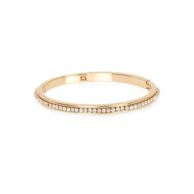 Womens Gold Tone Gem Encrusted Bangle - predominant colour: gold; occasions: evening; style: bangle/standard; size: standard; material: chain/metal; finish: metallic; embellishment: crystals/glass; season: s/s 2016