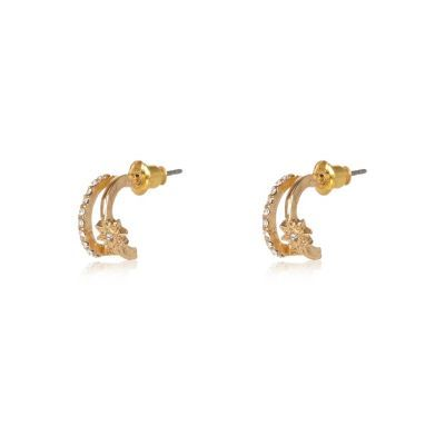 Womens Gold Tone Sleep Hoop Earrings - predominant colour: gold; occasions: evening, occasion; style: hoop; length: mid; size: small/fine; material: chain/metal; fastening: pierced; finish: plain; season: s/s 2016
