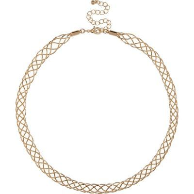 Womens Gold Tone Plait Chain Necklace - predominant colour: gold; occasions: casual; length: mid; size: standard; material: chain/metal; finish: metallic; season: s/s 2016; wardrobe: basic; style: chain (no pendant)