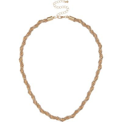 Womens Gold Tone Faceted Chain Necklace - predominant colour: gold; occasions: evening; length: mid; size: standard; material: chain/metal; finish: metallic; season: s/s 2016; style: chain (no pendant); wardrobe: event