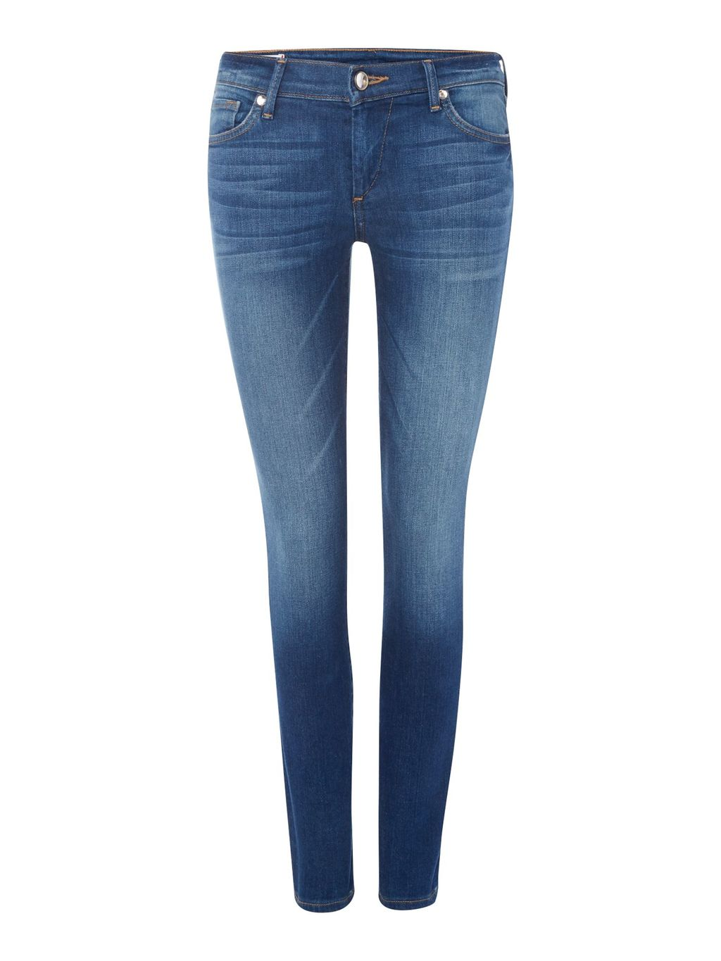 Casey Low Rise Skinny Jean In Crystal Springs, Denim Dark Wash - style: skinny leg; length: standard; pattern: plain; pocket detail: traditional 5 pocket; waist: mid/regular rise; predominant colour: denim; occasions: casual; fibres: cotton - stretch; jeans detail: shading down centre of thigh; texture group: denim; pattern type: fabric; season: s/s 2016; wardrobe: basic