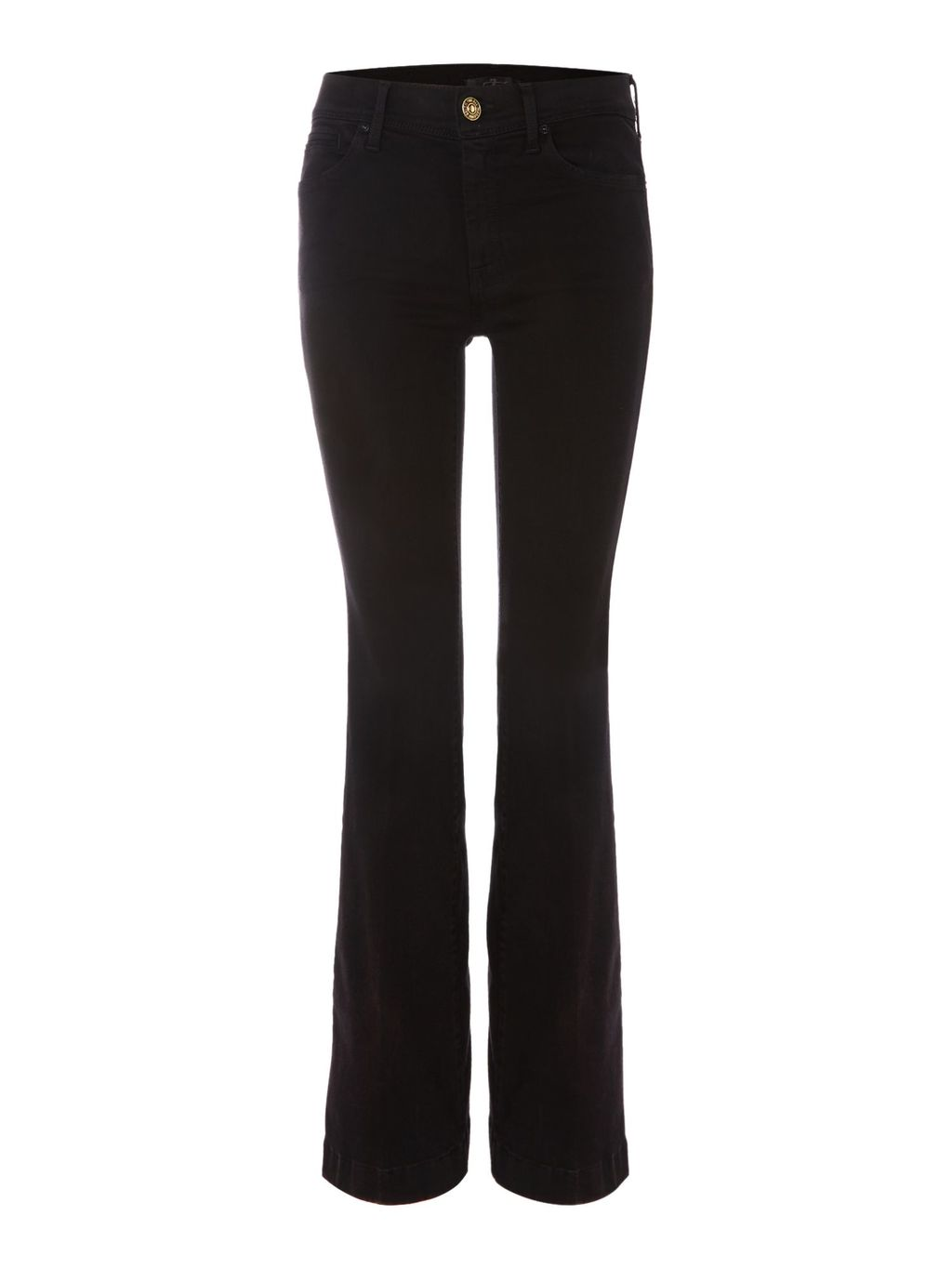 Charlize Tailorless Slim Flare Jean In Black, Black - style: flares; length: standard; pattern: plain; pocket detail: traditional 5 pocket; waist: mid/regular rise; predominant colour: black; occasions: casual, creative work; fibres: cotton - stretch; texture group: denim; pattern type: fabric; season: s/s 2016; wardrobe: basic