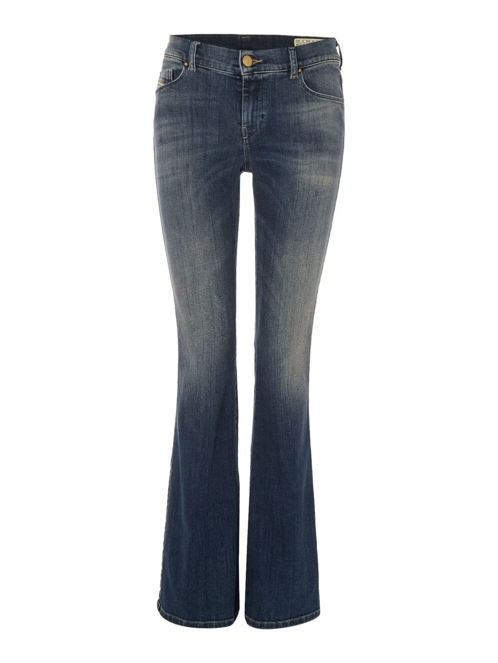 Sandy B 0855 Q Bootcut Jeans Leg 30, Blue - style: bootcut; length: standard; pattern: plain; pocket detail: traditional 5 pocket; waist: mid/regular rise; predominant colour: denim; occasions: casual; fibres: cotton - stretch; jeans detail: whiskering, shading down centre of thigh; texture group: denim; pattern type: fabric; season: s/s 2016