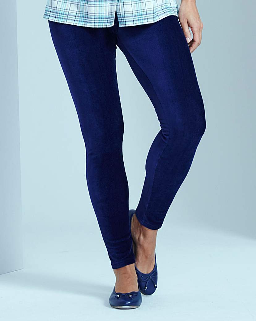 Corduroy Stretch Jersey Leggings - style: skinny leg; length: standard; pattern: plain; pocket detail: traditional 5 pocket; waist: mid/regular rise; predominant colour: navy; occasions: casual; fibres: cotton - stretch; jeans detail: dark wash; texture group: denim; pattern type: fabric; season: s/s 2016; wardrobe: basic