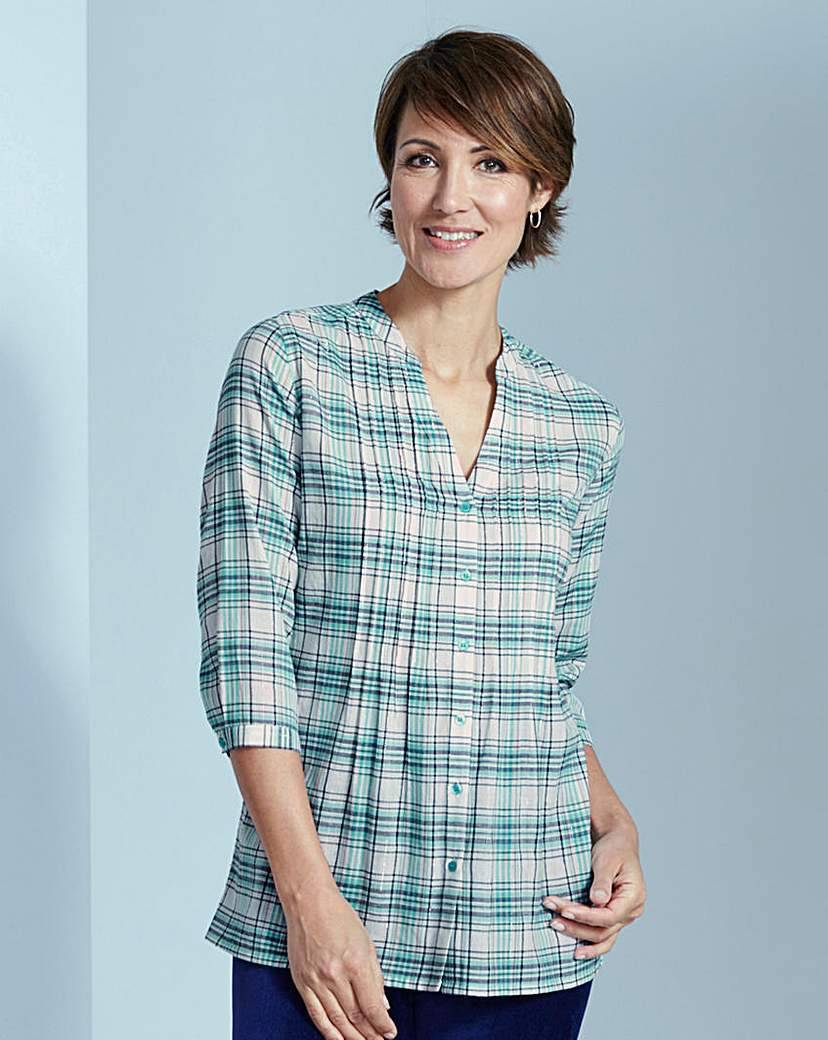 Check Cotton Blouse With Pintuck Detail - pattern: checked/gingham; length: below the bottom; style: blouse; bust detail: subtle bust detail; predominant colour: ivory/cream; secondary colour: turquoise; occasions: casual, creative work; neckline: collarstand & mandarin with v-neck; fibres: cotton - 100%; fit: body skimming; sleeve length: 3/4 length; sleeve style: standard; texture group: cotton feel fabrics; pattern type: fabric; pattern size: standard; season: s/s 2016; wardrobe: highlight