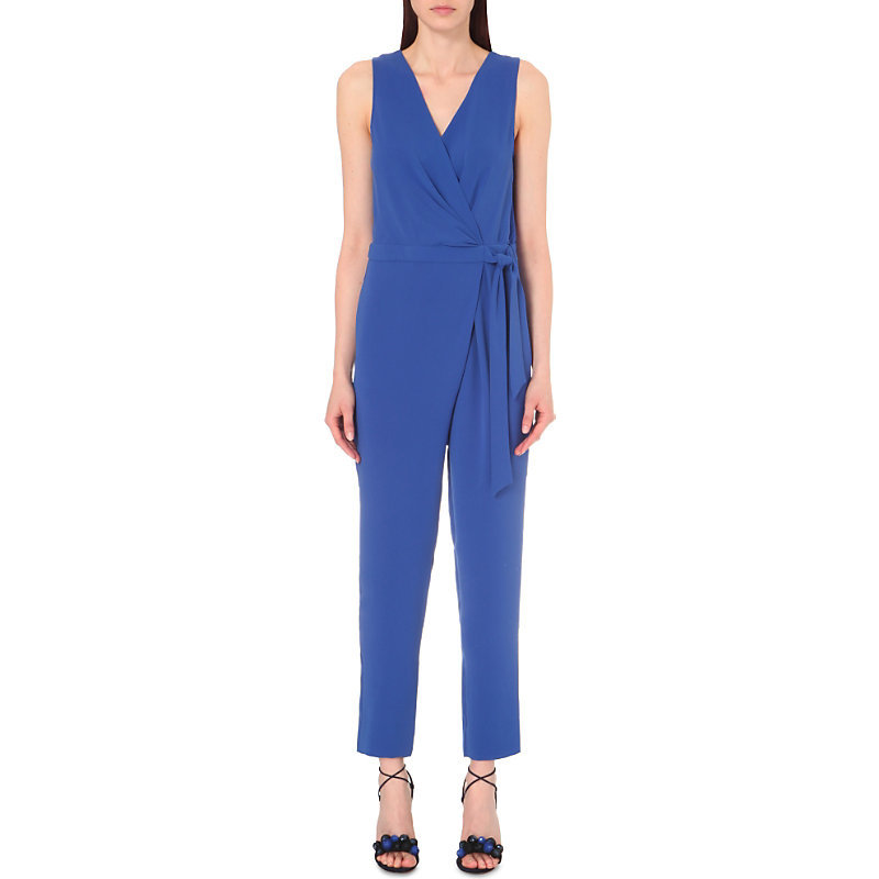 Cordia Crepe Jumpsuit, Women's, Blue Riviera - length: standard; sleeve style: wide vest straps; neckline: v-neck; pattern: plain; waist detail: belted waist/tie at waist/drawstring; predominant colour: navy; occasions: evening; fit: body skimming; sleeve length: sleeveless; texture group: crepes; style: jumpsuit; pattern type: fabric; fibres: viscose/rayon - mix; season: s/s 2016; wardrobe: event