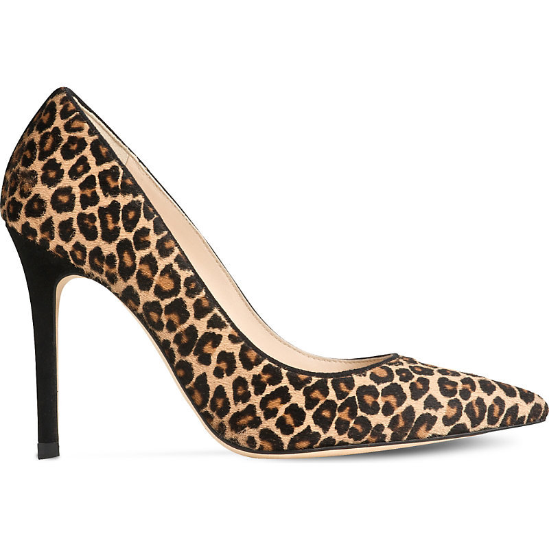 Fern Printed Courts, Women's, Eur 35 / 2 Uk Women, Pri Leopard - secondary colour: stone; predominant colour: black; occasions: work, occasion, creative work; material: fabric; heel height: high; heel: stiletto; toe: pointed toe; style: courts; finish: plain; pattern: animal print; multicoloured: multicoloured; season: s/s 2016; wardrobe: highlight