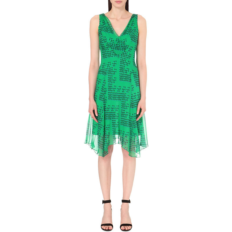 Dita Chiffon Dress, Women's, Chevron Dots Green - length: below the knee; neckline: v-neck; sleeve style: sleeveless; predominant colour: emerald green; occasions: evening; fit: body skimming; style: asymmetric (hem); fibres: silk - 100%; sleeve length: sleeveless; texture group: sheer fabrics/chiffon/organza etc.; pattern type: fabric; pattern: patterned/print; season: s/s 2016; wardrobe: event