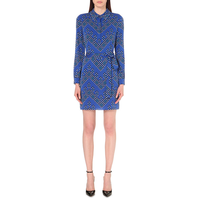 Seanna Silk Wrap Dress, Women's, Chevron Dots Blue - style: shirt; length: mid thigh; neckline: shirt collar/peter pan/zip with opening; waist detail: belted waist/tie at waist/drawstring; predominant colour: royal blue; secondary colour: mid grey; occasions: evening; fit: body skimming; fibres: silk - 100%; sleeve length: long sleeve; sleeve style: standard; texture group: crepes; pattern type: fabric; pattern: patterned/print; multicoloured: multicoloured; season: s/s 2016; wardrobe: event