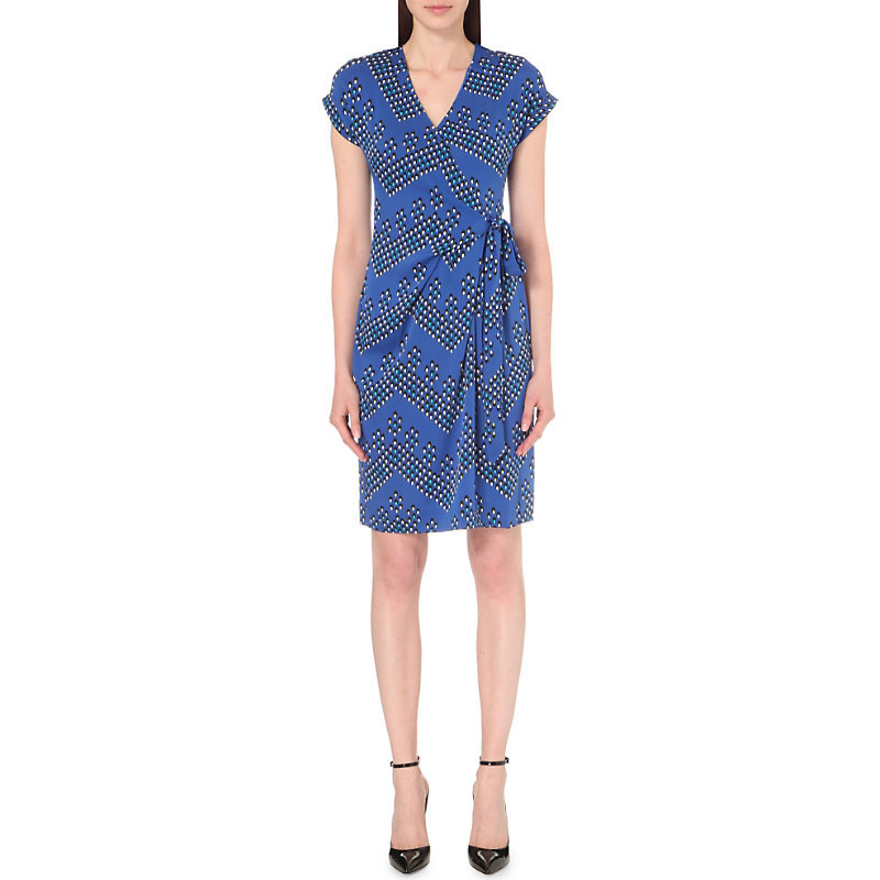 Sascha Silk Wrap Dress, Women's, Chevron Dots Blue - style: faux wrap/wrap; neckline: v-neck; waist detail: belted waist/tie at waist/drawstring; predominant colour: royal blue; secondary colour: charcoal; occasions: evening; length: on the knee; fit: body skimming; fibres: silk - 100%; sleeve length: short sleeve; sleeve style: standard; texture group: crepes; pattern type: fabric; pattern: patterned/print; multicoloured: multicoloured; season: s/s 2016; wardrobe: event