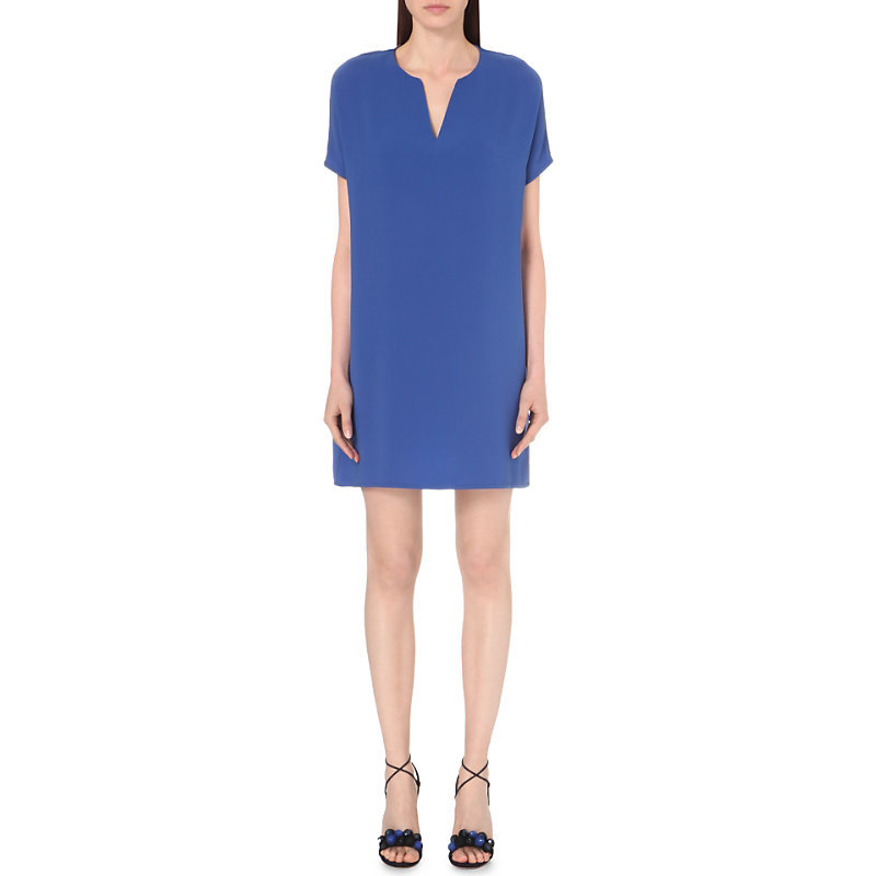 Kora Crepe Tunic Dress, Women's, Size: Small, Blue Riviera - style: shift; length: mini; neckline: low v-neck; pattern: plain; predominant colour: royal blue; occasions: evening; fit: straight cut; fibres: polyester/polyamide - 100%; sleeve length: short sleeve; sleeve style: standard; texture group: crepes; pattern type: fabric; season: s/s 2016; wardrobe: event