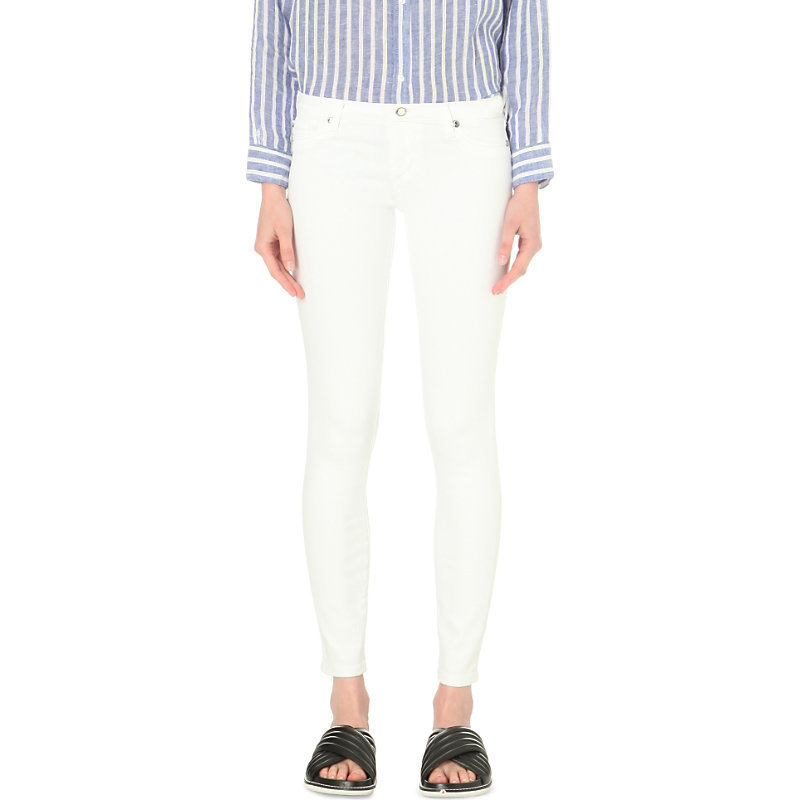 Casey Super Skinny Low Rise Jeans, Women's, Optic White - style: skinny leg; length: standard; pattern: plain; pocket detail: traditional 5 pocket; waist: mid/regular rise; predominant colour: white; occasions: casual, creative work; fibres: cotton - stretch; texture group: denim; pattern type: fabric; season: s/s 2016; wardrobe: highlight