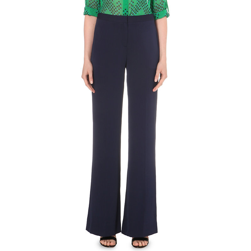 Katara Flared Stretch Silk Trousers, Women's, Black - length: standard; pattern: plain; waist: high rise; predominant colour: navy; occasions: work; fibres: silk - mix; texture group: silky - light; fit: flares; pattern type: fabric; style: standard; season: s/s 2016