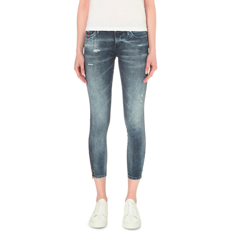 Skinzee Super Skinny Low Rise Jeans, Women's, 0674k - style: skinny leg; pattern: plain; pocket detail: traditional 5 pocket; waist: mid/regular rise; predominant colour: denim; occasions: casual; length: calf length; fibres: cotton - stretch; jeans detail: whiskering, shading down centre of thigh, rips; texture group: denim; pattern type: fabric; season: s/s 2016; wardrobe: basic