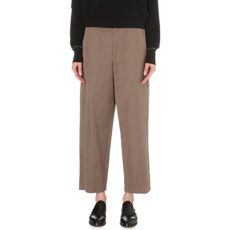 Wide Leg Cotton And Linen Blend Trousers, Women's, Green - pattern: plain; waist: mid/regular rise; predominant colour: taupe; occasions: casual, creative work; length: ankle length; fibres: cotton - mix; fit: wide leg; pattern type: fabric; texture group: woven light midweight; style: standard; season: s/s 2016; wardrobe: basic
