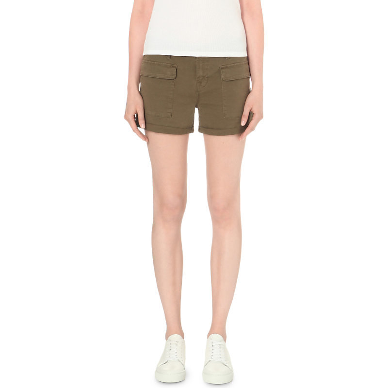 Kai Stretch Cotton Shorts, Women's, Distressed Trooper - pattern: plain; waist: mid/regular rise; predominant colour: khaki; occasions: casual, holiday; fibres: cotton - stretch; texture group: cotton feel fabrics; pattern type: fabric; season: s/s 2016; style: shorts; length: short shorts; fit: slim leg