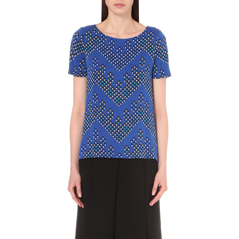 Maggy Stretch Silk Top, Women's, Chevron Dots Blue - neckline: round neck; predominant colour: royal blue; secondary colour: black; occasions: casual, creative work; length: standard; style: top; fit: body skimming; sleeve length: short sleeve; sleeve style: standard; pattern type: fabric; pattern size: standard; pattern: patterned/print; texture group: other - light to midweight; fibres: silk - stretch; multicoloured: multicoloured; season: s/s 2016; wardrobe: highlight