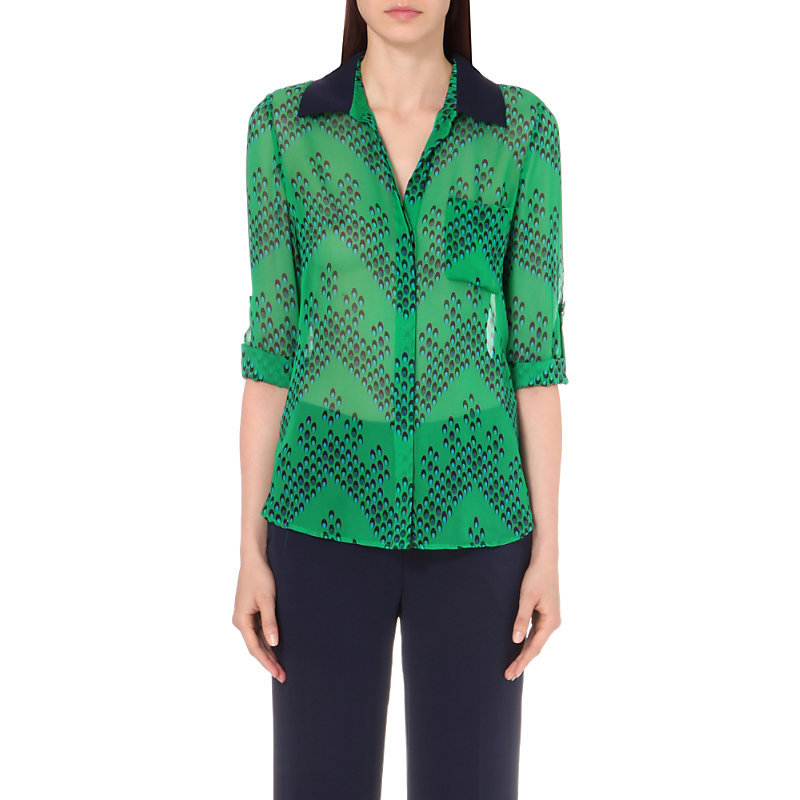Lorelei Silk Chiffon Shirt, Women's, Chevron Dots Green - neckline: shirt collar/peter pan/zip with opening; style: shirt; secondary colour: navy; predominant colour: emerald green; occasions: casual, creative work; length: standard; fibres: silk - 100%; fit: body skimming; sleeve length: long sleeve; sleeve style: standard; pattern type: fabric; pattern: patterned/print; texture group: other - light to midweight; multicoloured: multicoloured; season: s/s 2016; wardrobe: highlight