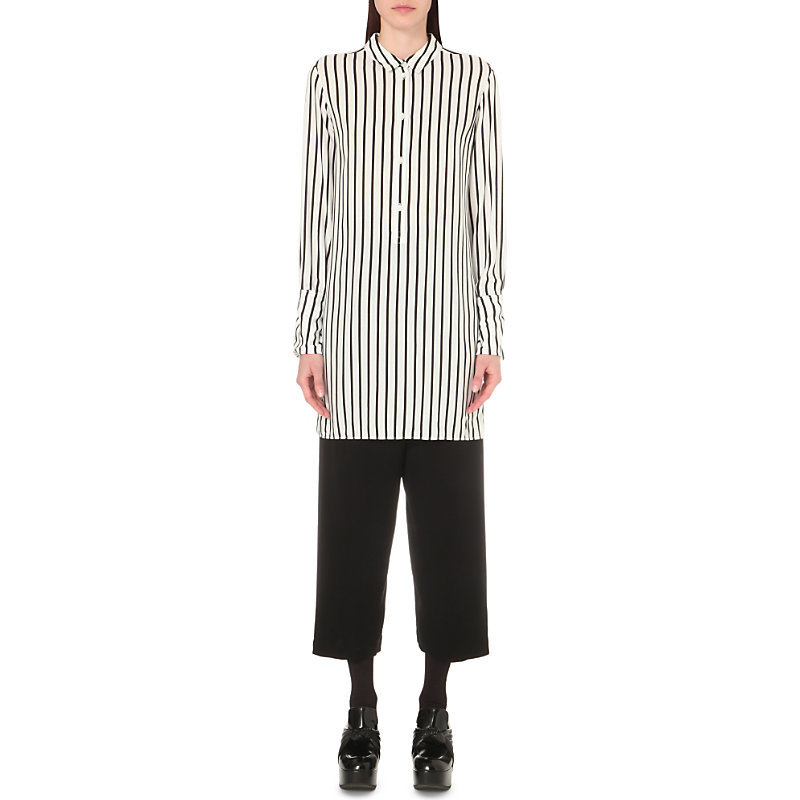 Striped Tunic Shirt, Women's, White Black Stripe - neckline: shirt collar/peter pan/zip with opening; pattern: striped; style: shirt; secondary colour: white; predominant colour: black; occasions: casual, creative work; fibres: viscose/rayon - 100%; fit: straight cut; length: mid thigh; sleeve length: long sleeve; sleeve style: standard; pattern type: fabric; texture group: other - light to midweight; pattern size: big & busy (top); season: s/s 2016; wardrobe: highlight
