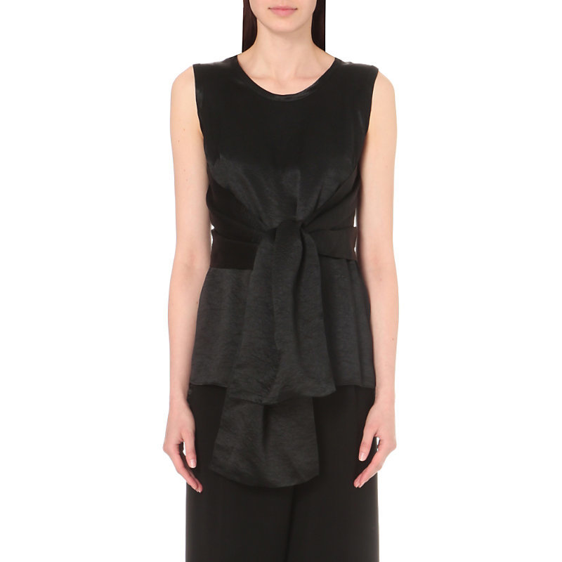Tied Crinkled Satin Top, Women's, Black - neckline: round neck; pattern: plain; sleeve style: sleeveless; length: below the bottom; predominant colour: black; occasions: evening; style: top; fibres: polyester/polyamide - 100%; fit: body skimming; sleeve length: sleeveless; texture group: structured shiny - satin/tafetta/silk etc.; pattern type: fabric; season: s/s 2016; wardrobe: event