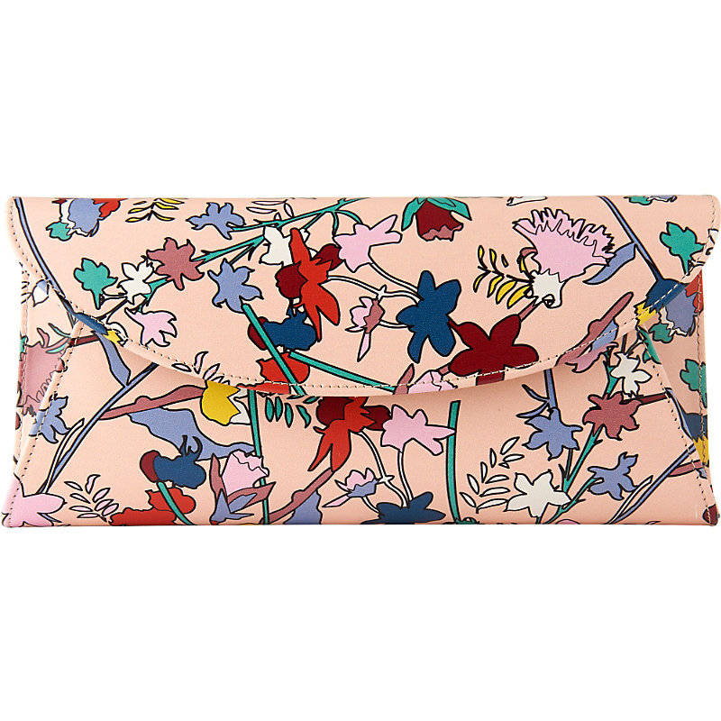Flo Leather Clutch Bag, Women's, Pri Multi - predominant colour: blush; occasions: evening; type of pattern: standard; style: clutch; length: hand carry; size: standard; material: leather; pattern: florals; finish: plain; secondary colour: raspberry; multicoloured: multicoloured; season: s/s 2016; wardrobe: event