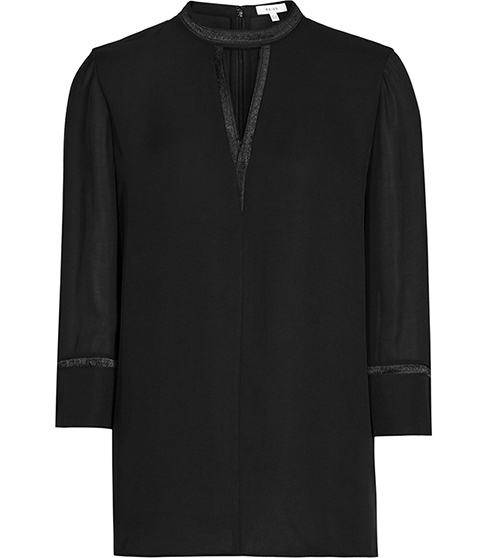 Kris Keyhole Neckline Top - neckline: v-neck; pattern: plain; length: below the bottom; style: blouse; predominant colour: black; occasions: casual, creative work; fibres: polyester/polyamide - 100%; fit: body skimming; sleeve length: 3/4 length; sleeve style: standard; texture group: crepes; pattern type: fabric; season: s/s 2016; wardrobe: basic