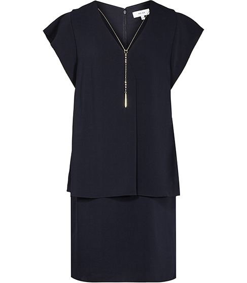 Tarquin Chain Detail Dress - style: shift; length: mid thigh; neckline: v-neck; fit: tailored/fitted; pattern: plain; waist detail: peplum waist detail; predominant colour: black; occasions: evening; fibres: polyester/polyamide - 100%; sleeve length: short sleeve; sleeve style: standard; pattern type: fabric; texture group: other - light to midweight; embellishment: chain/metal; season: s/s 2016; wardrobe: event; embellishment location: bust