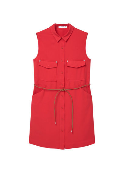 Detachable Belt Dress - style: shirt; length: mid thigh; neckline: shirt collar/peter pan/zip with opening; pattern: plain; sleeve style: sleeveless; waist detail: belted waist/tie at waist/drawstring; predominant colour: true red; occasions: casual, creative work; fit: straight cut; fibres: cotton - 100%; sleeve length: sleeveless; texture group: cotton feel fabrics; bust detail: bulky details at bust; pattern type: fabric; season: s/s 2016; wardrobe: highlight