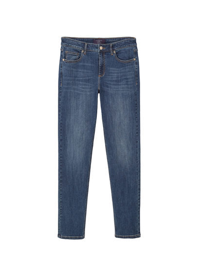 Straight Fit Theresa Jeans - style: straight leg; length: standard; pattern: plain; pocket detail: traditional 5 pocket; waist: mid/regular rise; predominant colour: navy; occasions: casual; fibres: cotton - stretch; jeans detail: whiskering; texture group: denim; pattern type: fabric; season: s/s 2016