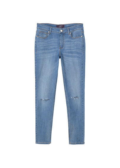Super Slim Fit Andrea Jeans - length: standard; pattern: plain; pocket detail: traditional 5 pocket; style: slim leg; waist: mid/regular rise; predominant colour: denim; occasions: casual; fibres: cotton - stretch; jeans detail: whiskering, rips; texture group: denim; pattern type: fabric; season: s/s 2016; wardrobe: basic