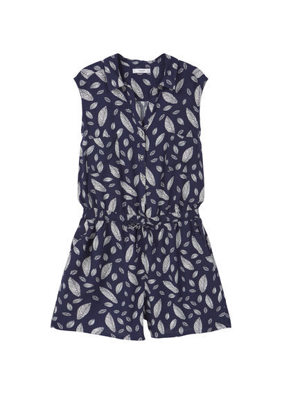 Printed Short Jumpsuit - neckline: v-neck; sleeve style: capped; fit: fitted at waist; waist detail: elasticated waist; length: mid thigh shorts; predominant colour: navy; secondary colour: light grey; occasions: casual, holiday; fibres: viscose/rayon - 100%; sleeve length: short sleeve; style: playsuit; pattern type: fabric; pattern size: big & busy; pattern: florals; texture group: other - light to midweight; season: s/s 2016; wardrobe: holiday