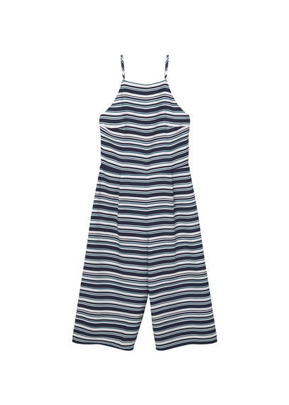 Striped Jumpsuit - neckline: high square neck; sleeve style: spaghetti straps; pattern: horizontal stripes; secondary colour: white; predominant colour: navy; occasions: casual; length: calf length; fit: body skimming; fibres: polyester/polyamide - 100%; sleeve length: sleeveless; style: jumpsuit; pattern type: fabric; texture group: other - light to midweight; multicoloured: multicoloured; season: s/s 2016; wardrobe: highlight