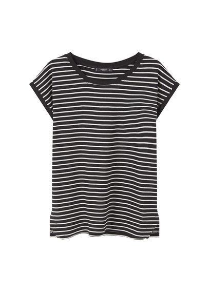 Striped Cotton T Shirt - neckline: round neck; pattern: horizontal stripes; style: t-shirt; secondary colour: white; predominant colour: black; occasions: casual, creative work; length: standard; fibres: cotton - 100%; fit: body skimming; sleeve length: short sleeve; sleeve style: standard; pattern type: fabric; pattern size: standard; texture group: jersey - stretchy/drapey; season: s/s 2016
