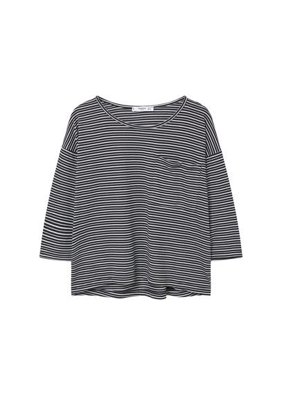Chest Pocket Printed T Shirt - neckline: round neck; sleeve style: dolman/batwing; pattern: horizontal stripes; style: t-shirt; secondary colour: white; predominant colour: navy; occasions: casual; length: standard; fibres: cotton - stretch; fit: loose; sleeve length: 3/4 length; pattern type: fabric; pattern size: standard; texture group: jersey - stretchy/drapey; season: s/s 2016; wardrobe: basic