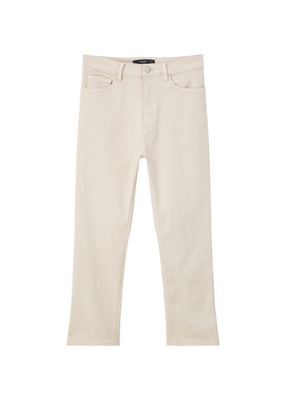 Cotton Crop Trousers - pattern: plain; pocket detail: traditional 5 pocket; waist: mid/regular rise; predominant colour: ivory/cream; occasions: casual; length: calf length; fibres: cotton - stretch; texture group: cotton feel fabrics; fit: slim leg; pattern type: fabric; style: standard; season: s/s 2016
