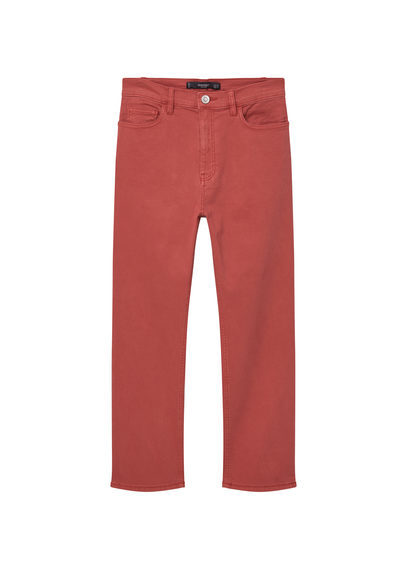 Cotton Crop Trousers - length: standard; pattern: plain; waist: mid/regular rise; predominant colour: terracotta; occasions: casual, creative work; fibres: cotton - stretch; texture group: cotton feel fabrics; fit: straight leg; pattern type: fabric; style: standard; season: s/s 2016; wardrobe: highlight