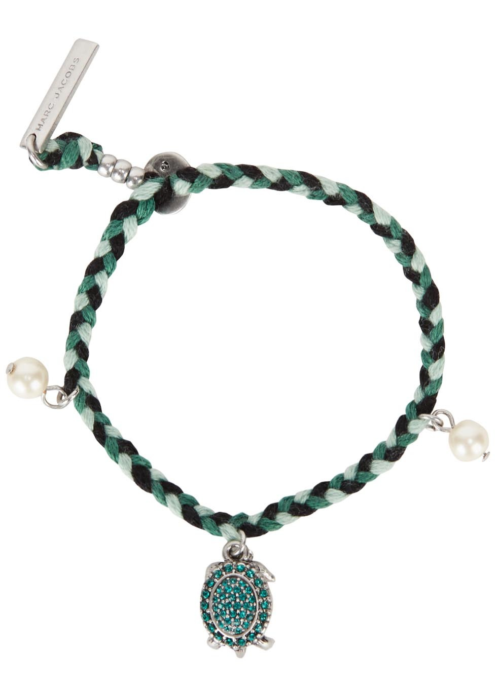 Turtle Charm Cotton Friendship Bracelet - predominant colour: dark green; occasions: evening, creative work; style: charm; size: standard; material: chain/metal; finish: plain; embellishment: chain/metal; season: s/s 2016; wardrobe: highlight
