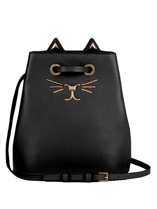 Feline Leather Bucket Bag - predominant colour: black; occasions: casual, creative work; type of pattern: standard; style: rucksack; length: shoulder (tucks under arm); size: small; material: leather; pattern: plain; finish: plain; season: s/s 2016; wardrobe: basic