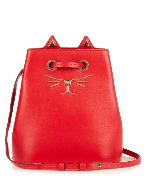 Feline Leather Bucket Bag - predominant colour: bright orange; occasions: casual, creative work; type of pattern: standard; style: shoulder; length: shoulder (tucks under arm); size: small; material: leather; pattern: plain; finish: plain; season: s/s 2016