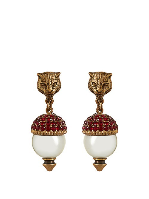 Pearl Effect Embellished Feline Earrings - secondary colour: burgundy; predominant colour: gold; occasions: evening, occasion; style: drop; length: mid; size: large/oversized; material: chain/metal; fastening: pierced; finish: metallic; embellishment: jewels/stone; season: s/s 2016