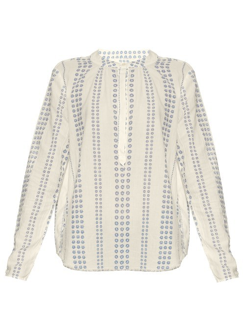 The Annabelle Cotton Blouse - length: below the bottom; style: blouse; predominant colour: ivory/cream; secondary colour: denim; occasions: casual, creative work; neckline: collarstand; fibres: cotton - 100%; fit: straight cut; sleeve length: long sleeve; sleeve style: standard; texture group: cotton feel fabrics; pattern type: fabric; pattern size: light/subtle; pattern: patterned/print; season: s/s 2016; wardrobe: highlight
