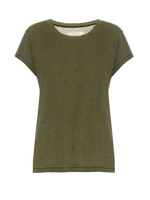 The Crew Neck Cotton T Shirt - neckline: round neck; style: t-shirt; predominant colour: khaki; occasions: casual; length: standard; fibres: cotton - 100%; fit: body skimming; sleeve length: short sleeve; sleeve style: standard; pattern type: fabric; pattern size: light/subtle; pattern: patterned/print; texture group: jersey - stretchy/drapey; season: s/s 2016; wardrobe: highlight