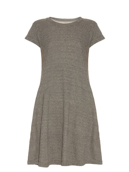 The Beach Tee Cotton Blend Dress - style: t-shirt; length: mid thigh; sleeve style: capped; predominant colour: taupe; occasions: casual; fit: body skimming; fibres: cotton - stretch; neckline: crew; hip detail: soft pleats at hip/draping at hip/flared at hip; sleeve length: short sleeve; pattern type: fabric; pattern size: light/subtle; texture group: jersey - stretchy/drapey; pattern: marl; season: s/s 2016; wardrobe: basic
