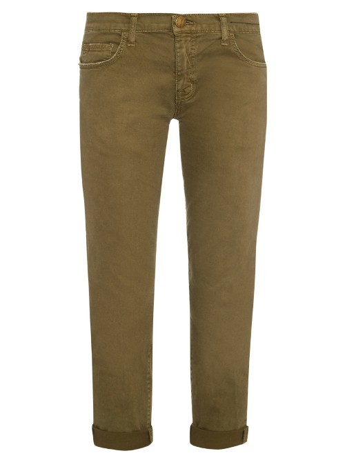 The Fling Low Slung Slim Leg Jeans - pattern: plain; waist: high rise; pocket detail: traditional 5 pocket; style: slim leg; predominant colour: khaki; occasions: casual; length: ankle length; fibres: cotton - stretch; jeans & bottoms detail: turn ups; texture group: denim; pattern type: fabric; season: s/s 2016; wardrobe: highlight