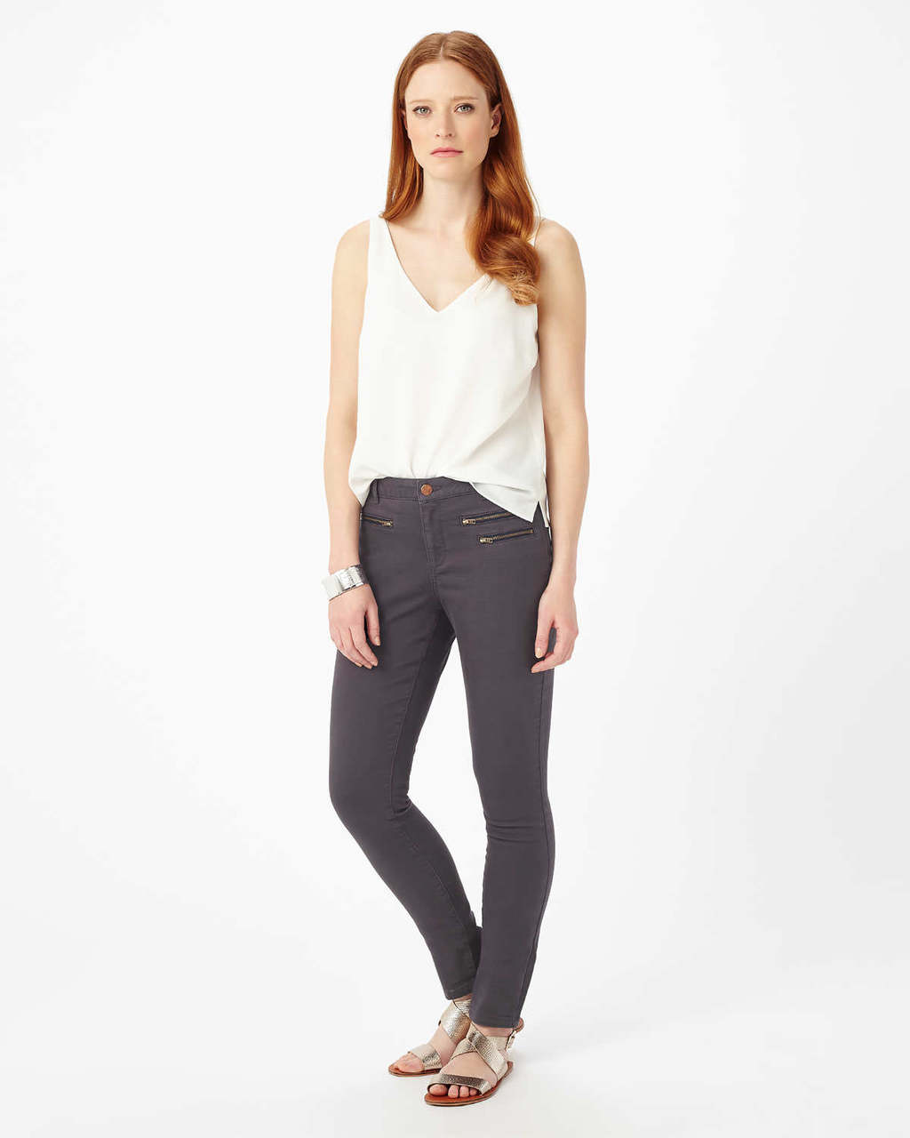 Victoria Triple Zip Jean - style: skinny leg; length: standard; pocket detail: traditional 5 pocket; waist: mid/regular rise; predominant colour: charcoal; occasions: casual; fibres: cotton - stretch; texture group: denim; pattern type: fabric; pattern: patterned/print; season: s/s 2016